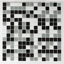 Mozaika Szklana czarna+szara+biała mix AM129