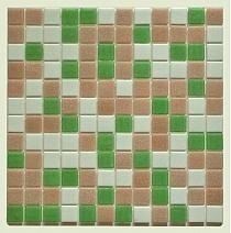 Mozaika Szklana ziełona+biała+rózowa mix DM412